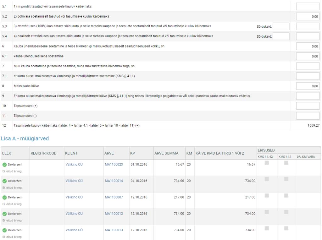 SmartAccounts käibedeklaratsiooni koostamine