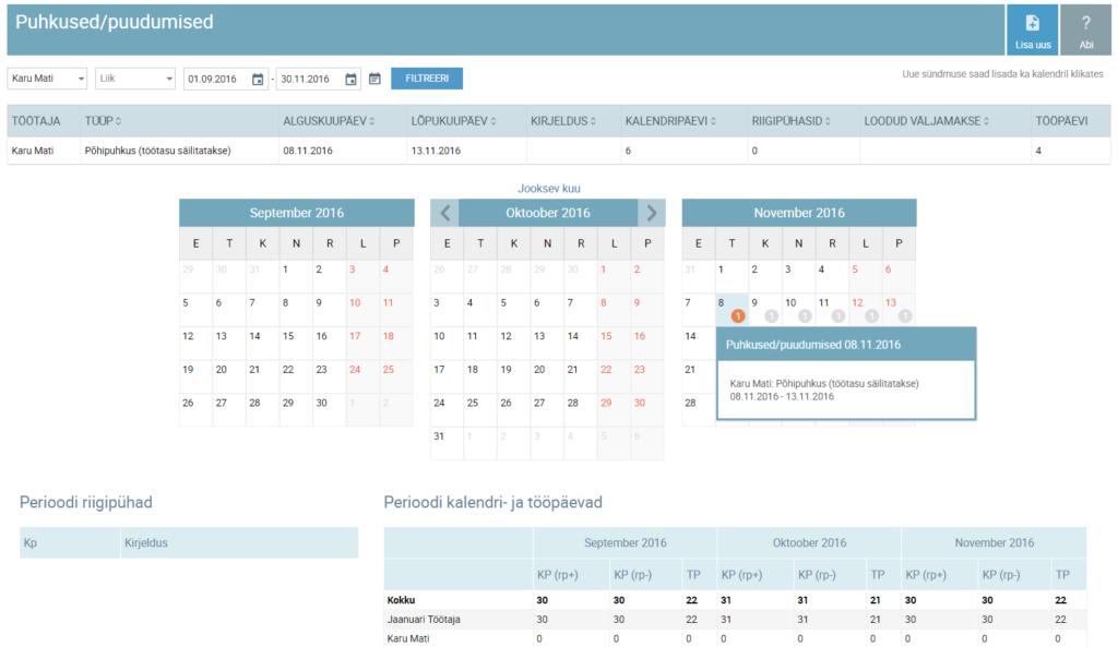 SmartAccounts puhkuste ja puudumiste sisestamine töötajate tööaja kalender