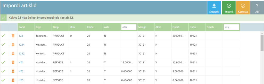 SmartAccounts artiklite andmebaasi importimine