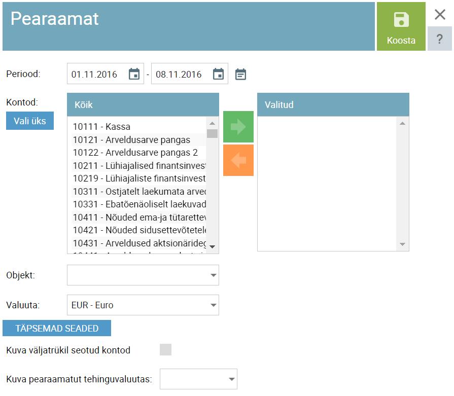 SmartAccounts pearaamatu väljavõte üle mitme konto