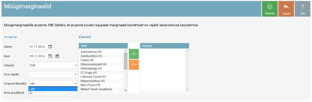 SmartAccounts müügimarginaalide aruanne