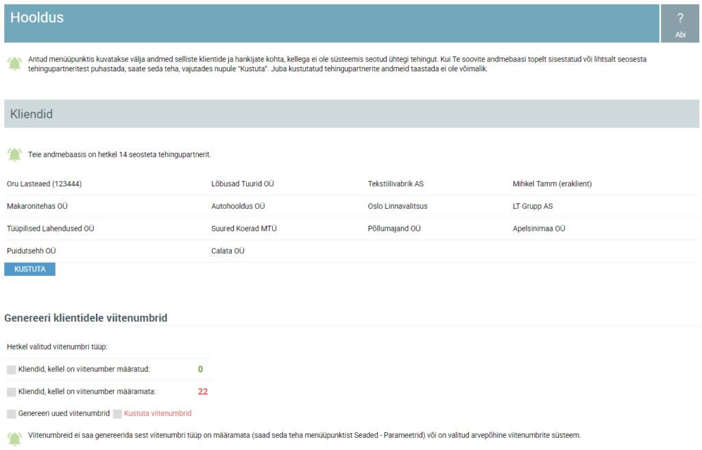 SmartAccounts seosesta tehingupartnerite eemaldamine andmebaasist