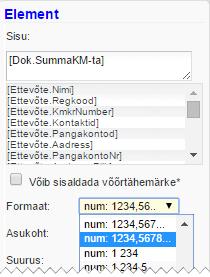 SmartAccounts dokumendimallid numbriformaat