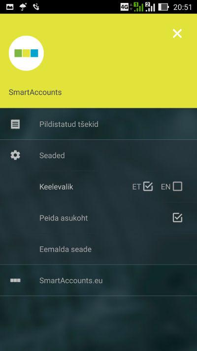 SmartAccounts mobiilirakenduse menüü