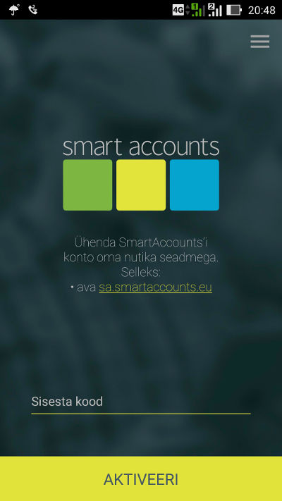 SmartAccounts seadme ühendamine mobiilirakendusega