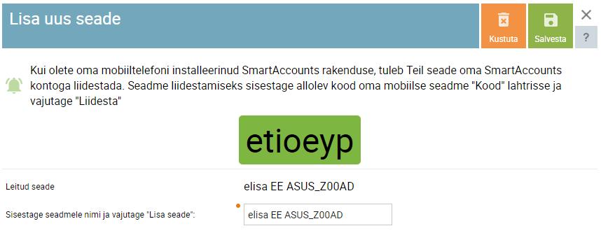 SmartAccounts seadme ühendamine
