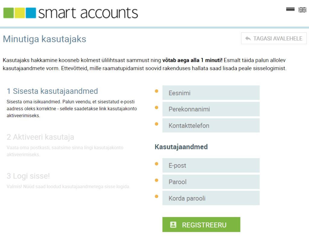 SmartAccounts kasutaja registreerimine