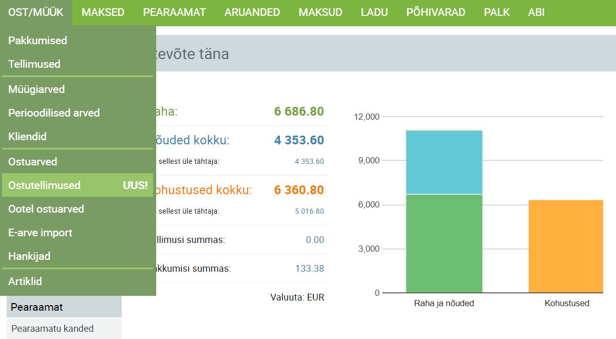 SmartAccounts uus funktsionaalsus ostutellimused