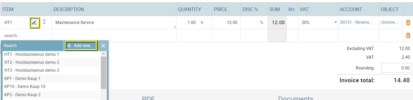 sales invoice rows