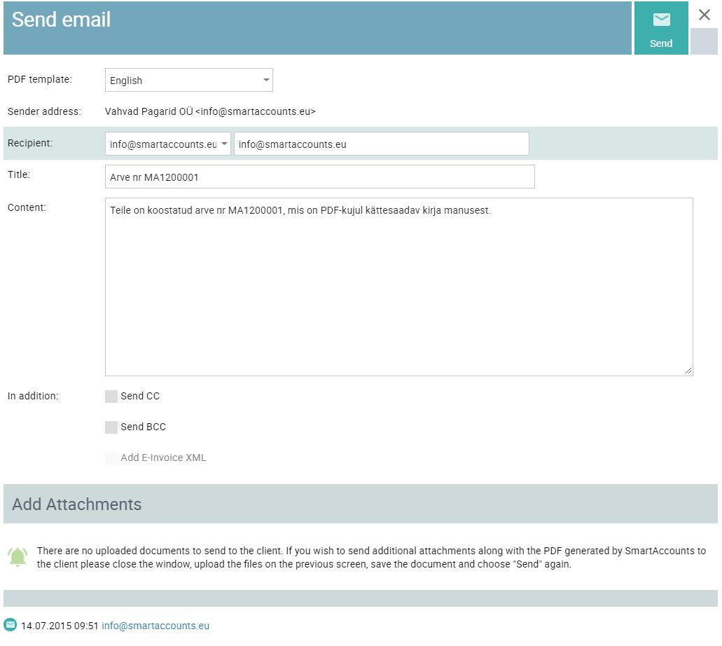 invoice sending screen